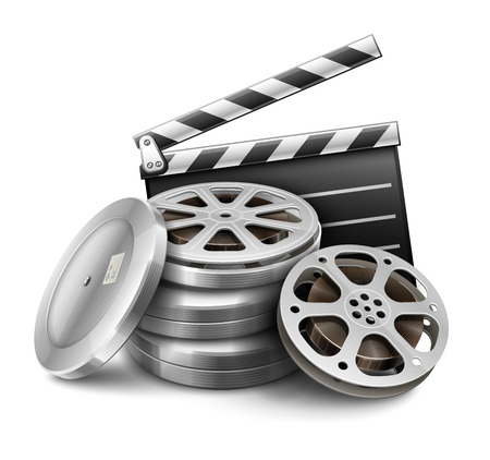 Movie film disk with tape and directors clapper for cinematography filmmaking. Eps10 vector illustration. Isolated on white background Vectores