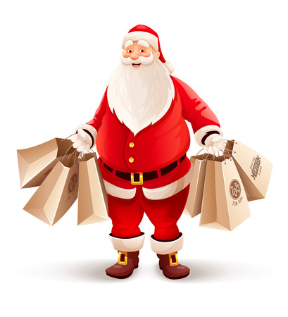 Merry Santa Claus with shopping bags buys gifts and sweets for Christmas. Eps10 vector illustration. Isolated on white background