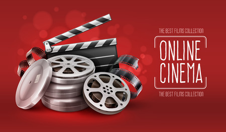 Online cinema with film movie tape disks in boxes and directors clapper for filmmaking