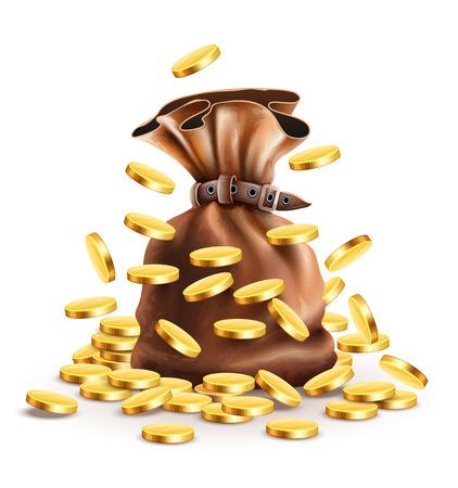 Sac plein avec de l'argent et la chute des pièces de monnaie d'or Illustration, isolé maille fond blanc de gradient utilisé Banque d'images - 54016670