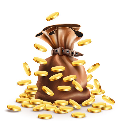 Full sack with money and falling gold coins illustration, isolated white background gradient mesh used Vectores