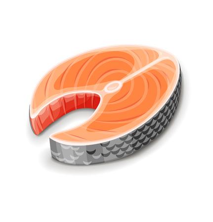 Steak of red fish salmon for sushi food menu