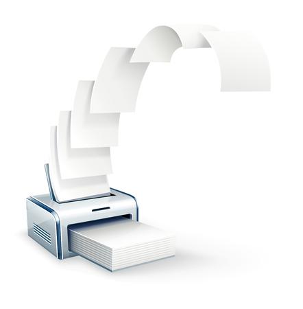 Impression de l'imprimante à copies papier blanc Banque d'images - 54795610