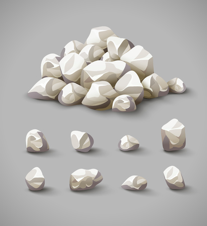 Set of separate rocks and stones pile illustration. Pile of stones, hard rock stones, stone icons set