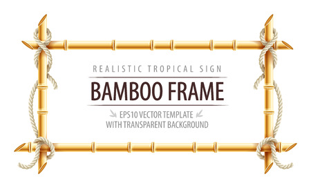 Bamboo frame template for tropical signboard with ropes and copypaste place for text