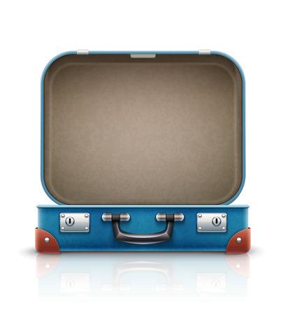 開いている古いレトロなヴィンテージ旅行用スーツケース。