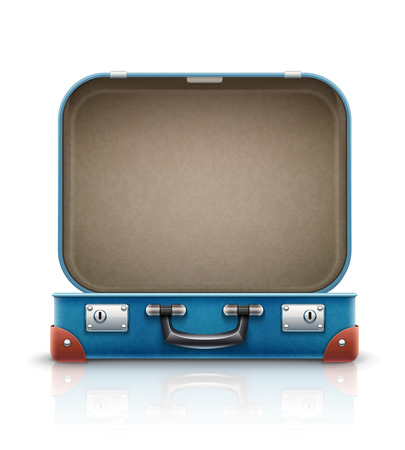Open old retro vintage suitcase for travel.