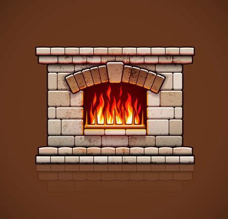 briques de pierre maison cheminée, poêle de Noël avec feu brûlant pour le chauffage de la maison, chaud illustration vectorielle, eps10