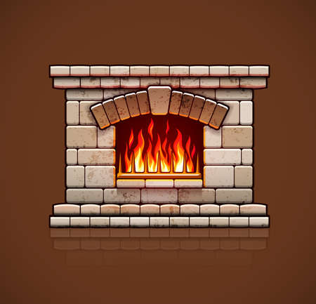 Stone bricks home fireplace, Christmas hearth with burning fire for house heating, warm vector illustration