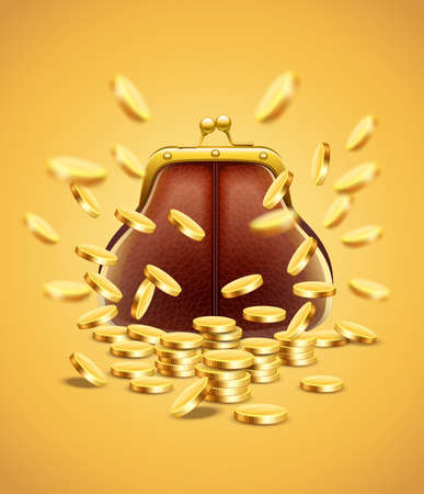 Classic vintage purse with gold coins money crumbling and falling down jackpot concept vector illustration, eps10