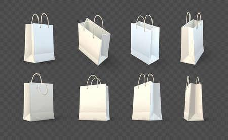 Set di sacchetti di carta per la spesa in carta per il trasporto di merci e prodotti dal negozio o dalla drogheria. Illustrazione realistica di vettore del modello del modello, eps10 isolato su fondo trasparente scuro.