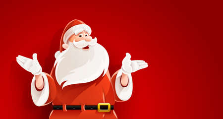 Merry Santa Claus. Smiling cartoon old man in santa clauses suit telling Christmas holiday story vector illustration, mens figure on red background, eps10