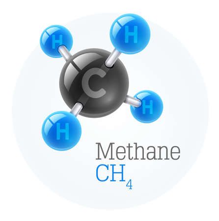 Physical chemical molecule model of gas methane, assembly of carbon and hydrogen. Combustible gaseous fuel for obtaining energy. Science vector illustration, eps10 isolated on white background