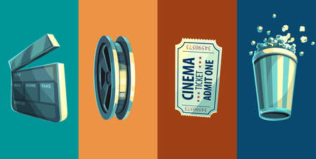 Vintage retro icon of cinema objects clapperboard disc with film-strip ticket in movie theater and popcorn vector illustration, eps10