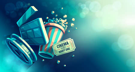 Online cinema art movie watching with popcorn and film-strip cinematograph concept vintage retro colors vector illustration, eps10