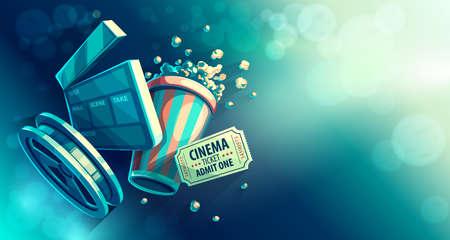 Película de cine en línea de cine de observación con palomitas de maíz y film-strip cinematógrafo concepto vendimia retro colores ilustración vectorial, eps10