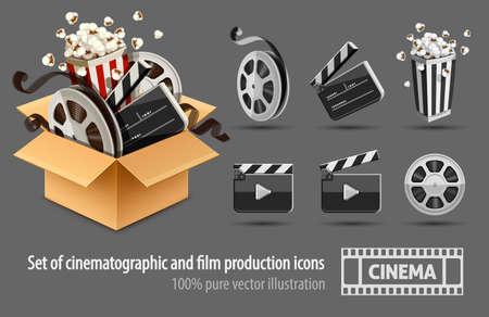 La caja de cartón completa llenó cinefilms de equipos de cine y cinematografía. Conjunto de iconos blanco y negro. El petardo del director, disco con el carrete, aislado en el fondo blanco. Ilustración de vector Eps10.