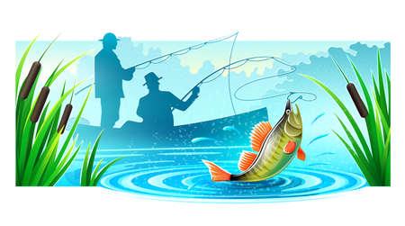 川にボートでの釣り漁師のシルエットは、大きな魚をキャッチします。