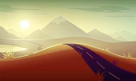 Evening landscape panorama with sunshine of sunset, mountains, sky with sun and clouds, road and lake. Eps10 vector illustration. 向量圖像