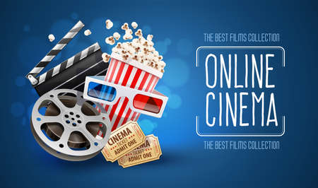 Online cinema art movie watching with popcorn, 3d glasses and film-strip cinematography concept. Vectores