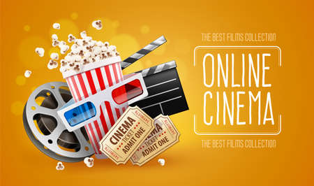 Online cinema art movie watching with popcorn, 3d glasses and film-strip cinematography concept. Eps10 realistic vector illustration. Ilustração