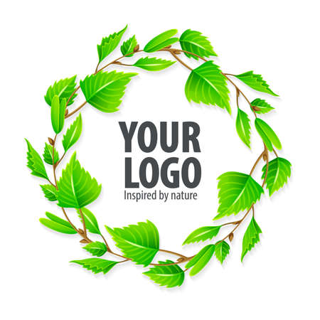Natural organic sign logo with green birchen leaves in circle. Modern design layout with place for text. Eps10 vector illustration. Vettoriali