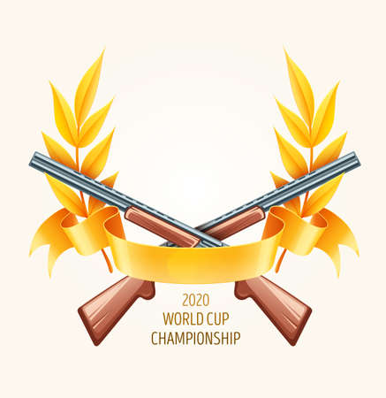 Emblem for hunting or shooting from rifles, championship logo with laurel branches and gold leaves, ribbon. Eps10 vector illustration.