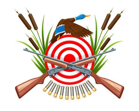 Jaag op wilde eend. Embleem met doelwit, pistool, vogelvliegen tussen riet en set van cartridges, geïsoleerd op een witte achtergrond. Eps10 vector logo illustratie.