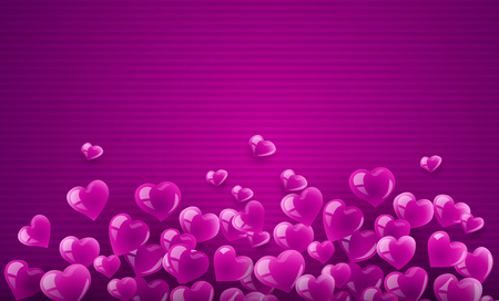 Love background banner with pink scattering hearts particles. Eps10 vector illustration. Illustration
