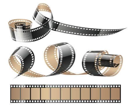 Film tape twisted reels for cinema movies or photography, isolated on white (transparent) background. Vector illustration.
