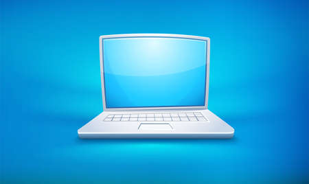 Cartoon laptop icon with empty blue screen. Eps10 vector illustration.