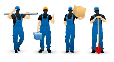 Worker people set of man cartoon personage silhouettes various professions in uniform overalls, isolated white background. Ilustração