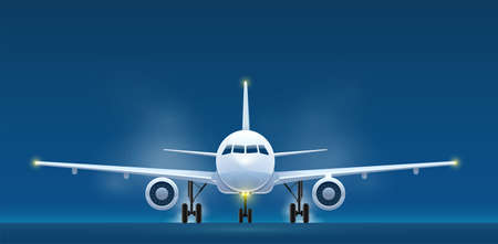 Front view of landing aircraft. Passenger air vehicle transport airplane for intercontinental flights and travel. Eps10 vector illustration.