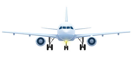 Front view of landing aircraft. Passenger air vehicle transport airplane for intercontinental flights and travel.