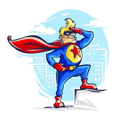 Valiente superhéroe disfrazado con una capa roja y una estrella en el pecho para un héroe como el capitán América, un fantástico guardián de la ciudad. Esquema de personaje de dibujos animados de cómics, aislado sobre fondo blanco.