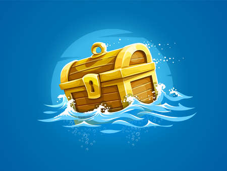 Pirate trunk with treasures and gold floating among waves in ocean. Vector illustration.