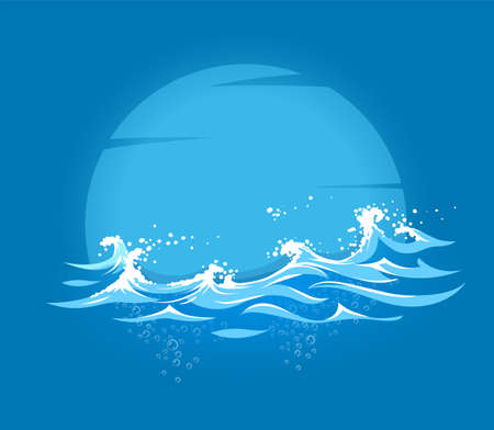 Sea and ocean marine waves with foam of breeze wind on background of Moon silhouette. Eps10 vector illustration.
