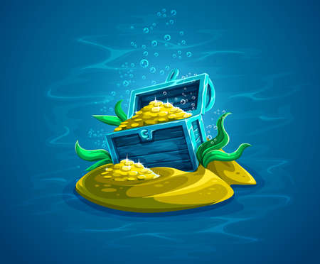 Hidden pirate chest with gold treasures in ocean underworld among sand and seaweeds.