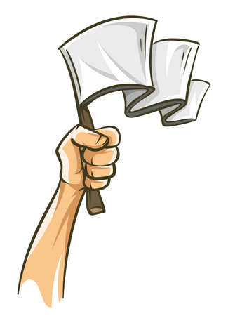 Hand holding white flag, capitulation concept. Losing. Hand drawn sketch in cartoon style with draft silhouette contour lines. Vector illustration, isolated on white background.