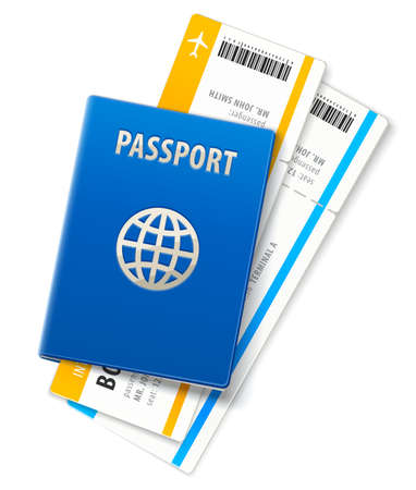 Travel documents. International passport and ticket for airplane boarding in airport. Boarding pass for air flight departure, isolated white background. EPS10 vector illustration.