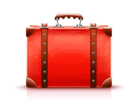 Retro suitcase. Red luggage case for travel isolated white background. EPS10 vector illustration. Illustration