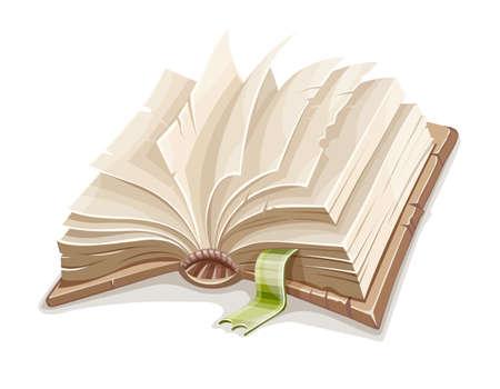 Libro abierto viejo extendido con páginas de papel en blanco y marcador. Símbolo de educación y literatura de lectura, aprendizaje y estudio, aislado sobre fondo blanco. Ilustración de vector Eps10.