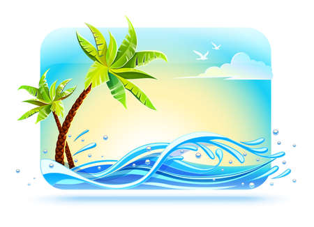 Tropical palms on beach among sea waves in ocean sunny day weather. Banner for travel and summery rest in holiday vacation, isolated white background. EPS10