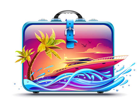 Elite luxury rest on yacht among tropical palms at hot islands in sea or ocean. Travel case ready for holidays vacation. High-speed motorboat race by waves at evening sunset sky background. Banner for travel. EPS10 vector illustration