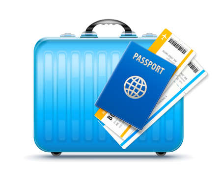 Suitcase for travel with passport and boarding pass tickets to flight in airplane, isolated white background. EPS10