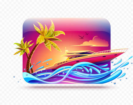 Elite luxury rest on yacht among tropical palms at hot islands in sea or ocean. High-speed motorboat race by waves at evening sunset sky background. Banner for travel. EPS10 vector illustration