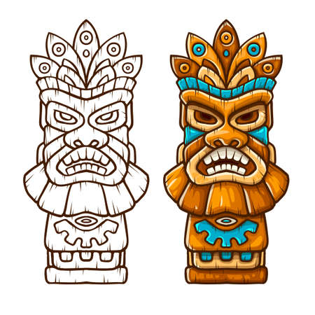 Tiki traditional hawaiian tribal mask with human face with outline. Wooden totem symbol, god from ancient culture of Hawaii. Hand drawn in cartoon style, isolated on white background. EPS10 vector illustration.