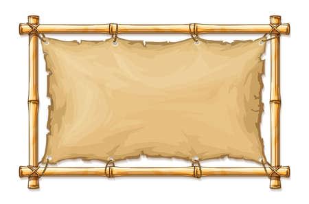 Bambusrahmen mit altem zerrissenem Textilgewebe-Banner, fest mit Seilen, mit horizontalem Copyspace-Platz für Text im Karikaturstil, isolierter weißer Hintergrund. EPS10 Vektorillustration.