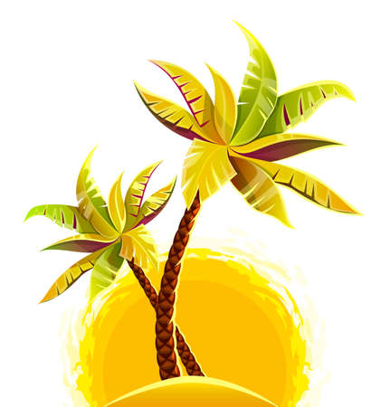 Coconut palm tropical trees on sand sunny beach. Eps10 vector illustration. Isolated on white background