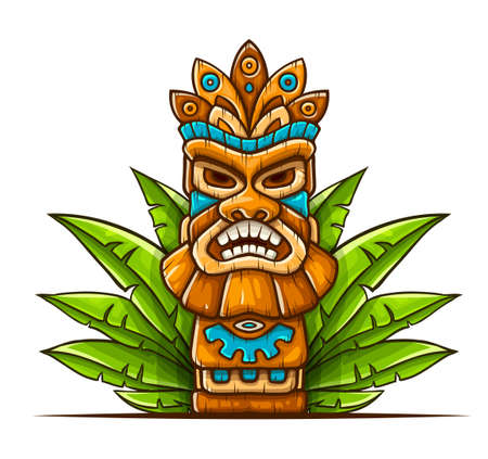 Tiki traditional hawaiian tribal mask with human face in green leaves of tropical plants. Wooden totem symbol, god from ancient culture of Hawaii. Hand drawn in cartoon style, isolated on white background. EPS10 vector illustration. Ilustracja